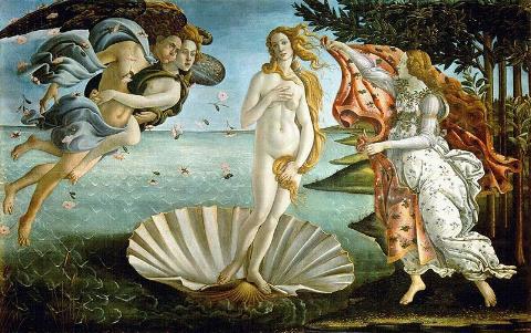 El nacimiento de Afrodita segun Botticelli