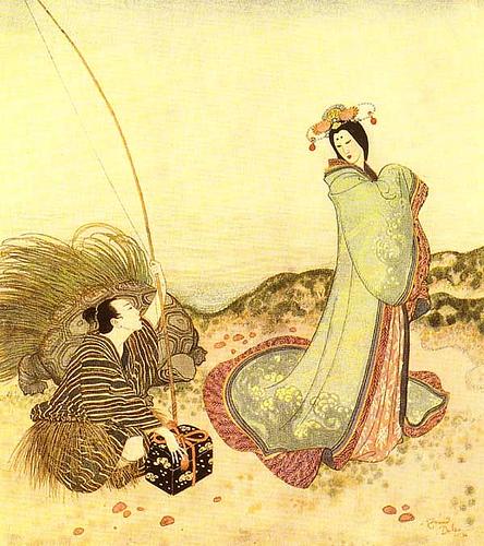 Urashima recibe la caja de madera, ilustración de Edmund Dulac