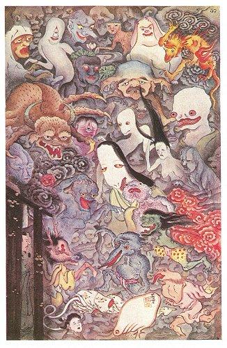 Hyakki Yako, ilustración basada en la pintura de Mitsunobu