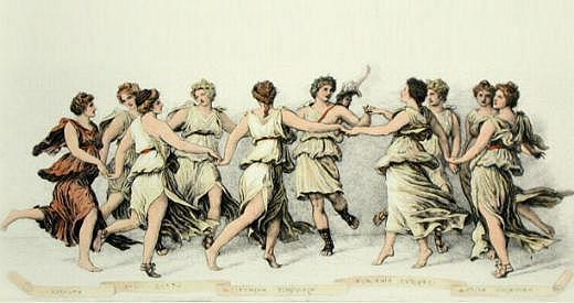 Las nueve musas y Apolo