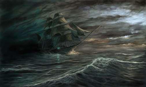 Barco navegando en tormenta
