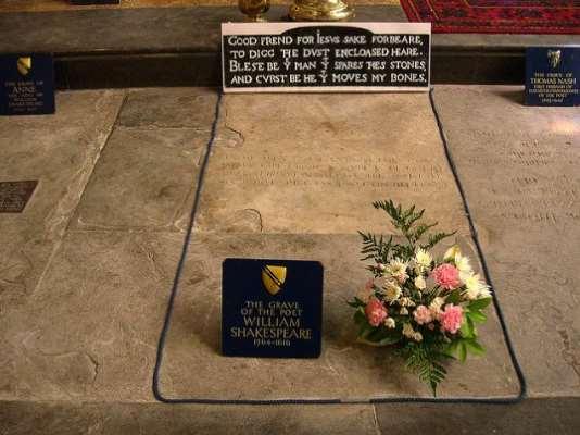 Epitafio sobre tumba de Shakespeare