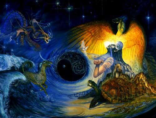 En la imagen se muestra la creación del universo desde la mitología griega, acá se ven representados el fuego desde un ave; el aire se evidencia desde un dragón; el agua a partir de un caballo y la tierra desde una montaña café de la que sale una tortuga; estos elementos dan forma a un jin jan del que sale la silueta de una persona que representa uno de los dioses de esta cultura.
