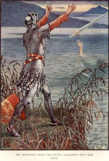 Sir Bedevere tirando la espada
