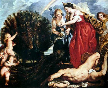 Hera y el pavo real con los ojos de Argos