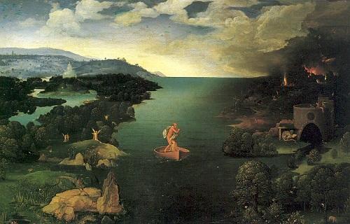Caronte cruzando rio Estigia