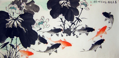 pintura china de peces dorados